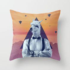 Llama Rama Throw Pillow - now available at society6 http://society6.com/pegessert