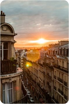 To wander the streets of Montmartre by night. Abundance of music, laughter, red wine and adventure. Just to see the sun rise. Paris. Brake of dawn. Lever du jour.