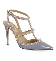 VALENTINO Rockstud 100 patent-leather heeled courts (Grey mid