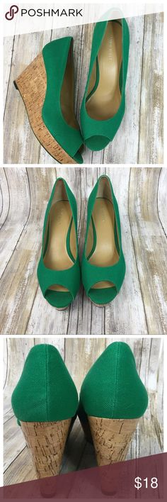 "Nine West Cork Canvas Wedges Nine West Canvas Cork wedges. Kelly Green. Size 9.5. A couple small spot on right shoe. 020408 Measurements  Wedge 4"" Bundle in my closet and save. I ship same day or next day almost always! No trades. Nine West Shoes Wedges"