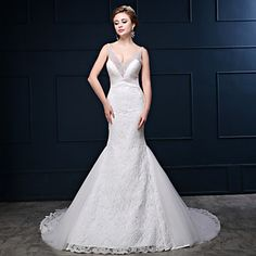 HUA+XI+REN+JIAO+Trumpet+/+Mermaid+Wedding+Dress+Beautiful+Back+Court+Train+V-neck+Lace+Tulle+Charmeuse+with+Beading+–+USD+$+199.99