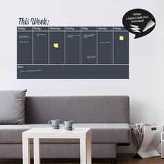 Get yourself organized with this fantastic Write and Erase Weekly Planner Wall Sticker.Choose from a selection of 12 colours. Please see the colour chart image for reference when selecting the colours from the options menu above. A white liquid chalk pen is included. All our products include step-by-step installation instructions and a free wall sticker for testing. We also provide an optional squeegee for an even easier installation.At Sirface Graphics we are always embracing the latest…
