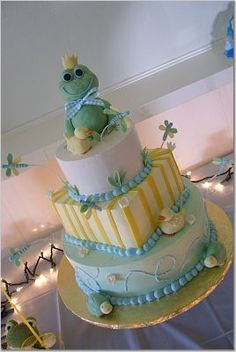 Frog cake, ducks cake, dragonfly cake, Baby Shower Cake