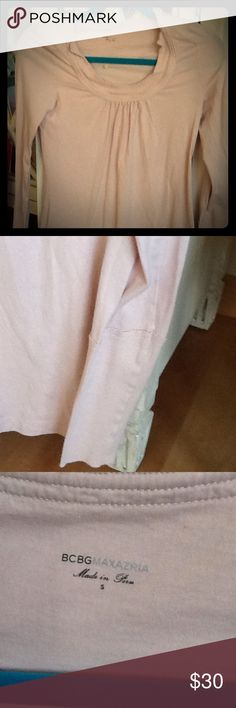 BCBG Maxazria small pink top Bcbg light pink top barely worn. Fitted sleeves add  a nice detail to this sweet top. Non smoking house. BCBGMaxAzria Tops