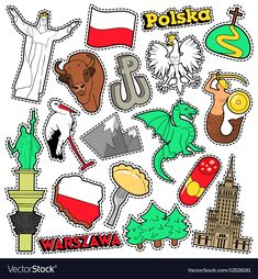 Illustration of Poland Travel Scrapbook Stickers, Patches, Badges for Prints with Syrenka, Eagle and Polish Elements. Comic Style Vector Doodle vector art, clipart and stock vectors. Road Trip Crafts, Travel Crafts, Baby Scrapbook, Travel Scrapbook, Bordado Popular, Scrapbooking Stickers, Jw Gifts, Poland Travel, Superhero Birthday Party