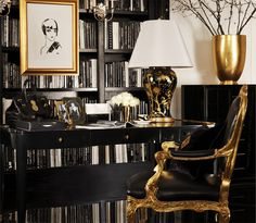 Black, white and gold interior home office Decoration Inspiration, Interior Design Inspiration, Decor Ideas, Gold Interior, Interior And Exterior, Luxury Interior, Elegant Living Room, Decorating With Pictures, Home Living