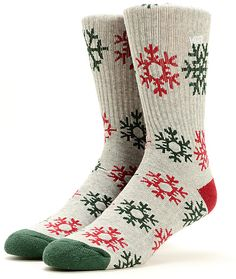 Get geared up for the holidays with a festive red and green snowflakes jacquard pattern with contrasting red heel and green toe.