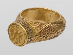 Golden ring of Serbian queen Teodora, 14th century, excavated in her grave in Banjska monastery, at Kosovo and Metohija, southern Serbia