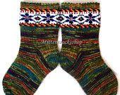 Hand knitted wool socks Patterned socks Warm socks Knitted socks from sock yarn with kid mohair Socks with latvian ornament Unisex socks
