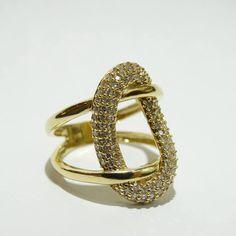 Anel nó com diamantes ouro 18k