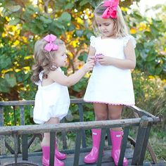 From the #HunterBoots community - @ShadesKids matching outfits, hunterboot, pink girl rain boots, kids hunter boots