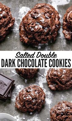 These salted dark chocolate cookies are made with TRIPLE the chocolate for the most supreme, deep, dark chocolate flavor. Easy to make with no chilling required. No one will be able to stop eating them! #chocolate #cookies #wellplated Triple Chocolate Cookies, Dark Chocolate Recipes, Chocolate Hazelnut, Dark Chocolate Chips, Chocolate Flavors, Yummy Treats, Delicious Desserts, Dessert Recipes, Sweet Treats