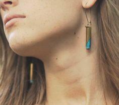 Turquoise Earrings Tribal Geometric Rustic by MySelvagedLife Bullet Earrings, Drop Earrings, Bullet Designs, Bullet Casing, Tough Girl, Royal Jewels, Photoshoot Inspiration, Turquoise Earrings, Arrow Necklace