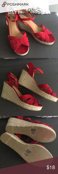 Beautiful American Eagle red espadrilles sz 13w Only used once in great condition! Perfect red wedges to complete your look! american eagle Shoes Espadrilles
