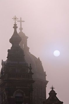 Winter Sun in Amsterdam. Towers of Sint Nicolaas Basilica.