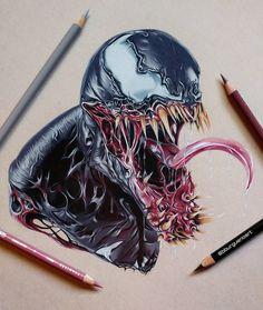 Perfect color pencil drawing of Venom from Marvel comics done by Borja Burgueño Moreno from Madrid, Spain Venom Comics, Marvel Venom, Marvel Villains, Marvel Art, Marvel Heroes, Marvel Characters, Comic Books Art, Comic Art, Venom Tattoo