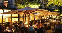 Restaurant terrace - summer nights Vevey, Restaurant, Destinations, Spa, Album, Cafe Design, Summer Nights, Terrace, Outdoor Decor