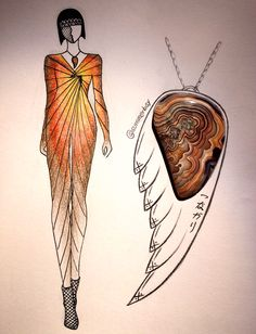 """This week's stone-fashion illustration practice: crazy lace agate, i picked up from last gem show.  Necklace design idea is a bird wing shape, with japanese characters """"tsu-na-ga-ri"""", means connection."""