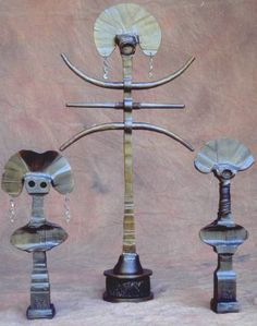 """Indoor Sculpture - Totem Series    The Totem Series arises from a need to express primal human forces. The main body of these sculptures were forged from 2 1/2"""" solid steel bar."""
