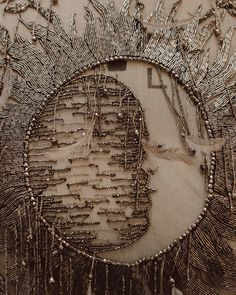 Alexander McQueen: «A detail from the magical map dress: an embroidered moon is enclosed in the sun, a mystical pagan… Tambour Embroidery, Couture Embroidery, Embroidery Dress, Beaded Embroidery, Embroidery Stitches, Embroidery Designs, Couture Beading, Kitsch, Pagan Symbols