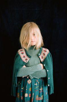 Vintage Girl // Gorgeous green. GALA & GAIA #estella #designer #kids #fashion