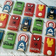 "@lovebugcookies's photo: ""Superhero poster cookies for little Beau turning 3! #superhero #captainamerica #spiderman #hulk #batman #ironman #birthdaycookies #favors #boysbirthday #decoratedcookies #lovebugcookies #cookies #leesburg #ashburn #southriding"""