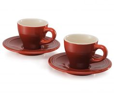 Le Creuset Espresso Cup and Saucer, Set of Soleil The Bistro, Espresso Cups Set, Le Creuset, Cup And Saucer, Tea Cups, Matching Set, Coffee, Cherry, Tableware