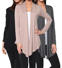 3 Pack: Free to Live Women's Light Weight Open Front Cardigans - Made in USA *** You can get more details by clicking on the image.