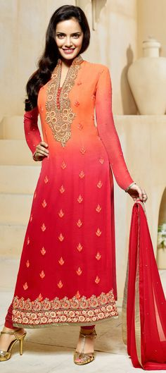 441234: Orange,Red and Maroon color family stitched Bollywood Salwar Kameez .