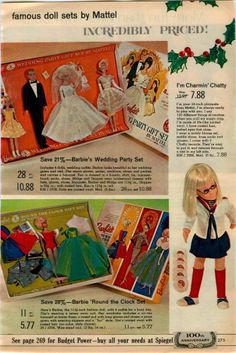 1965 AD Dolls Mattel Barbie Wedding Round The Clock Midge Ken Allan Case Wig