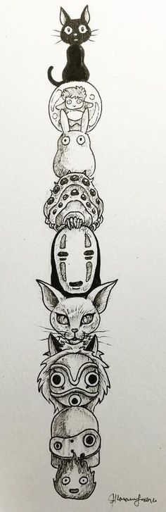 Ghibli Fanart of spirited away, totoro, mononoke hime kiki's delivery service etc Studio Ghibli Tattoo, Studio Ghibli Art, Studio Ghibli Movies, Manga Anime, Anime Art, Hayao Miyazaki, Drawn Art, Anime Tattoos, Howls Moving Castle