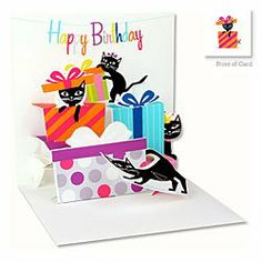 """3D Greeting Card - CAT & GIFTS - Happy Birthday by Up With Paper. $5.50. All Treasures cards measure 5"""" x 5"""" when closed.. Treasures cards charm senders and recipients alike!. The fun, eye-catching Treasures line of greeting cards, featuring engaging designs and surprising pop-ups are irresistible.. They incorporate a combination of designs with pop-ups, richly embellished with glitter, ribbons, lace bows, soft plush and other items.. Personalize your greeting in the provided spa..."""