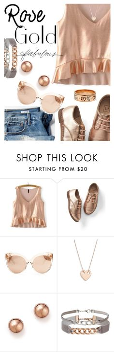 """Rose Gold Jewelry"" by juliehooper ❤ liked on Polyvore featuring Gap, Linda Farrow, Ginette NY, Bloomingdale's, Miss Selfridge, Gucci, Stella & Dot and rosegold"