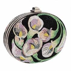 Judith Leiber Full Bead Black, Pink & Green Crystal Calalillies Minaudiere Evening Bag Excellent Width x . Vintage Purses, Vintage Handbags, Couture Handbags, Judith Leiber, Cute Bags, Clutch Purse, Evening Bags, Pink And Green, Purses And Bags