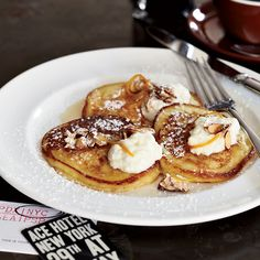 The Breslin's Ricotta Pancakes with Orange Syrup You can substitute the nuts for toasted pumpkin seeds