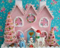 Christmas Putz Style..... LARGE...Pink House with Reindeer, Angel, Snowman and Pink Glittered Xmas Trees...ooak