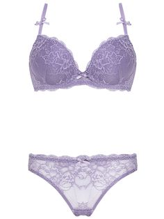 Burvogue See Through Embroidery Padded Push Up Lace Bra & Panty Sets