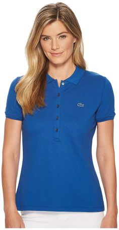 b7ca3419930f39 Lacoste Short Sleeve Slim Fit Stretch Pique Polo Shirt Women s Clothing  Fashion