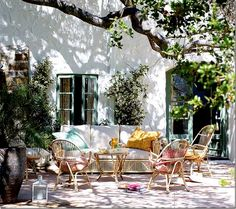 beautiful patio dappled with shade