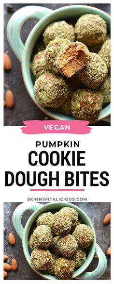 Filled with fall spices, these healthy bites are the perfect snack. Filled with fall spices, these healthy bites are the perfect snack. Healthy Low Calorie Meals, Low Calorie Recipes, Healthy Snacks, Healthy Gluten Free Recipes, Sugar Free Recipes, Vegan Recipes, Snack Recipes, Vegan Pumpkin Cookies, Healthy Pumpkin