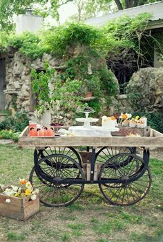 Pastry trolley in the garden.. FABULOUS for entertaining.