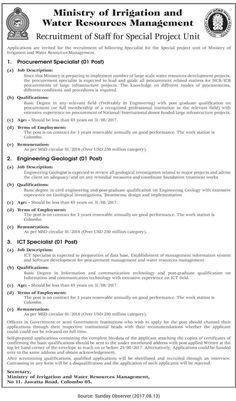 Sri Lankan Government Job Vacancies At Ministry Of Housing