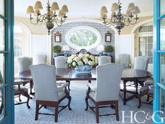 Elegant and country-chic in this Hamptons dining room by Anthony...