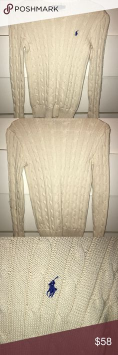 Ralph Lauren polo sweater Cream with navy horse, crew neck,cable knit Polo by Ralph Lauren Sweaters Crew & Scoop Necks
