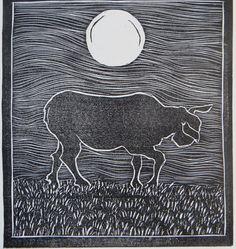 Sheep - Night (and Day) - woodblock print - LisaToth, U.S.A.