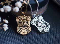 Pug necklace pendant Pug gift Pug jewelry tiny от ArtDogJewelry