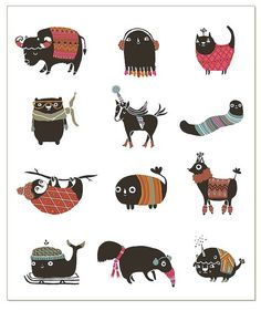 winter animals - 2011 holiday card  Laura Berger