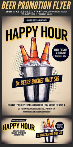 Beer Promotion Happy Hour Flyer Template 3  — PSD Template #promotion #brewery • Download ➝ https://graphicriver.net/item/beer-promotion-happy-hour-flyer-template-3/18297661?ref=pxcr