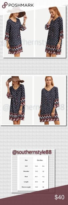 Vintage Tunic Lace Up Navy Blue Dress XL BNWT Cotton blend Tunic dress, 3/4 length sleeves, midi, tribal print. ⛔️PP ⛔️Trades ✅offers are welcomed. Thanks for looking! Boutique Dresses Midi
