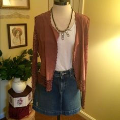 Bohemian Leather & Crochet Jacket Boho Chic! Leather and Crochet Jacket in a lovely brownish mauve color. Looks amazing with jeans and heels! Leather body with crochet trim and sleeves. Size medium. Price is firm. Jackets & Coats
